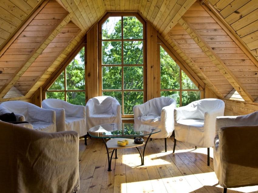 cozy sitting area in attic room