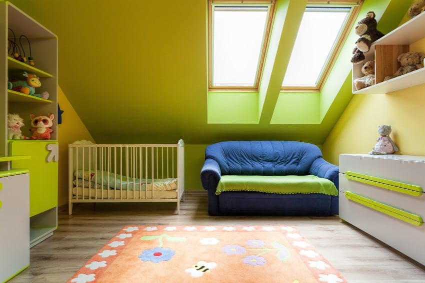 tiny attic room used as nursery