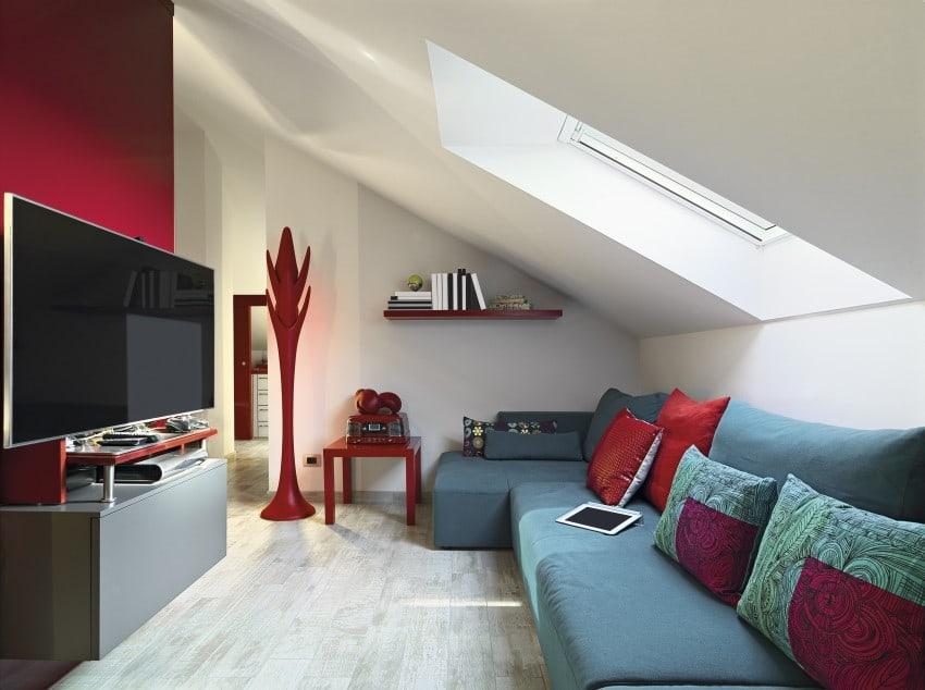TV room in attic space