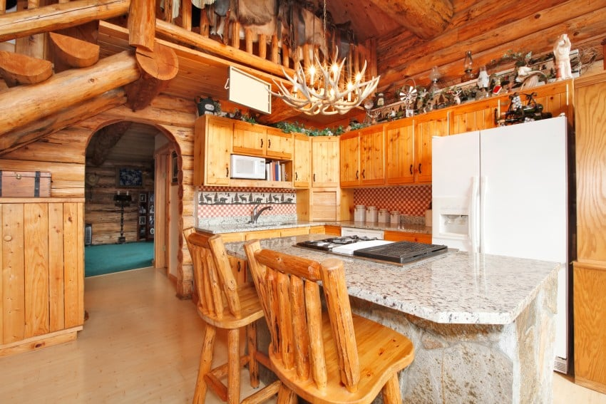 L-shaped log kitchen