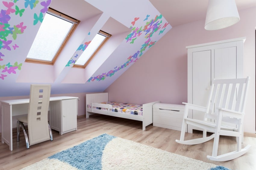 delicate and girly attic bedroom design