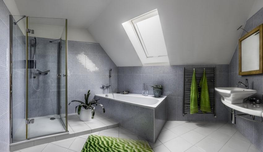 modern bathroom in attic