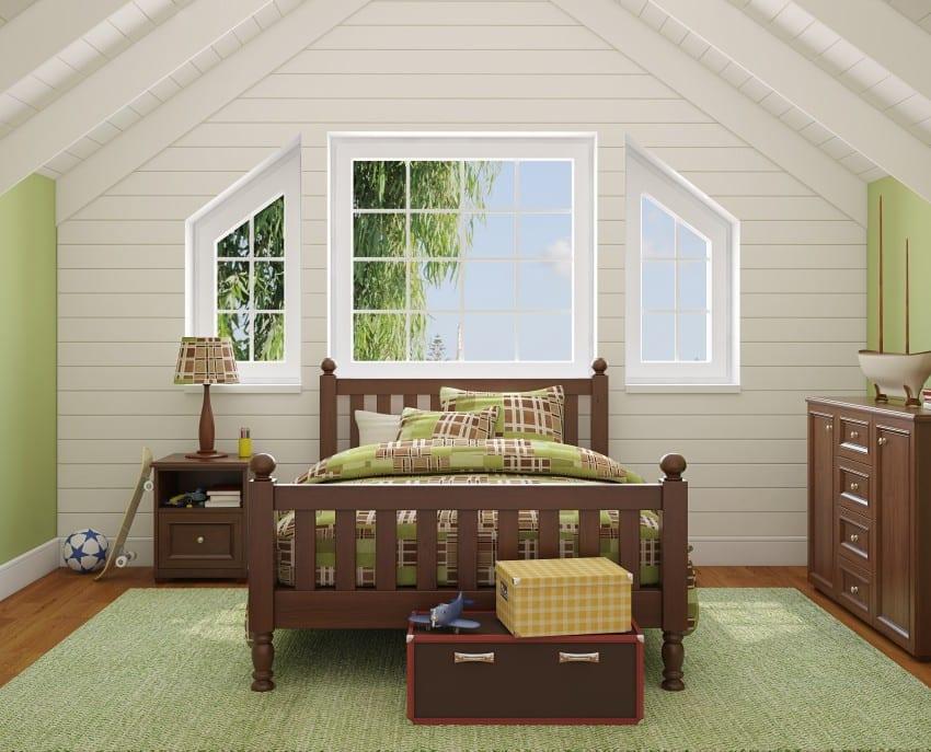 teen bedroom in the attic