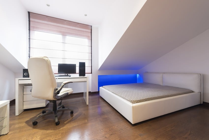 modern bedroom and study room
