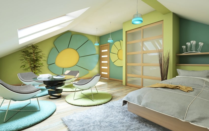 attic bedroom design in green and blue