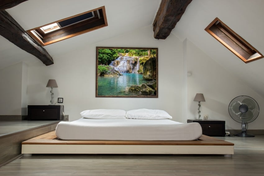 modern bedroom in attic area
