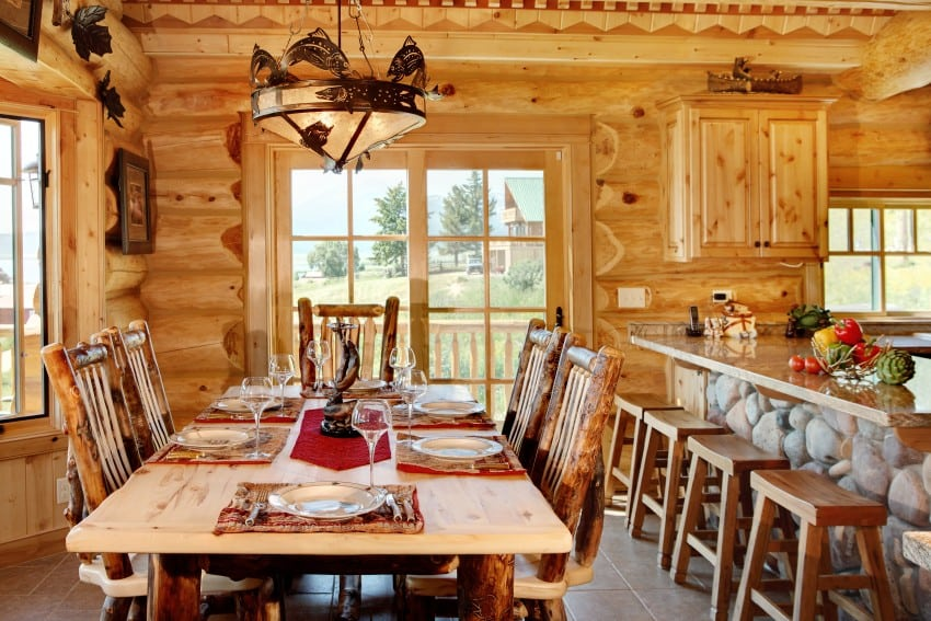 spectacular dining room in log home