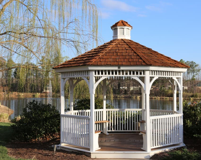 romantic gazebo next to lake