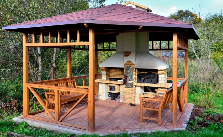 garden pavilion with barbecue