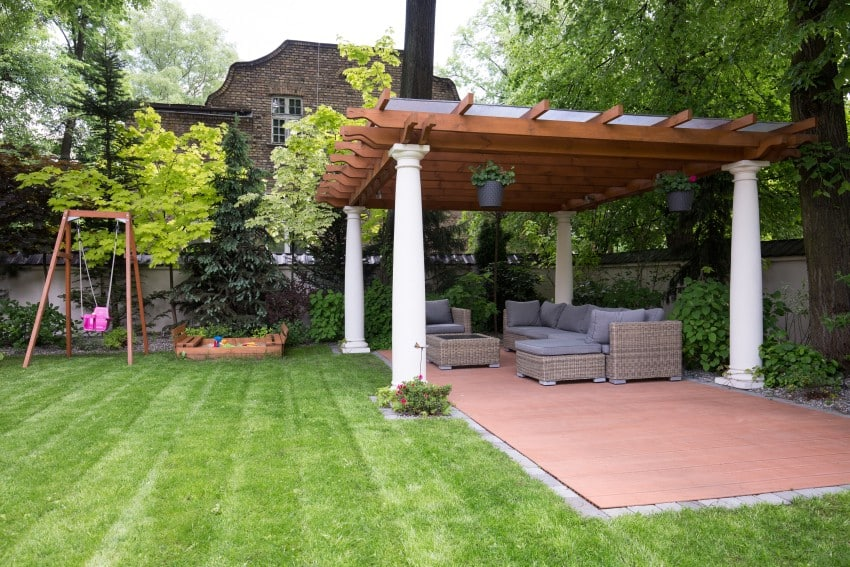 nice pergola in a backyard garden