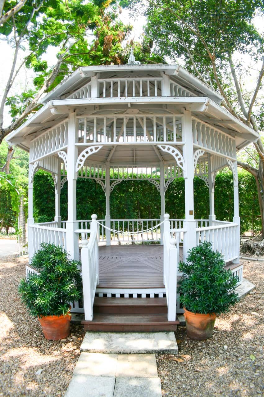 romantic garden gazebo in white