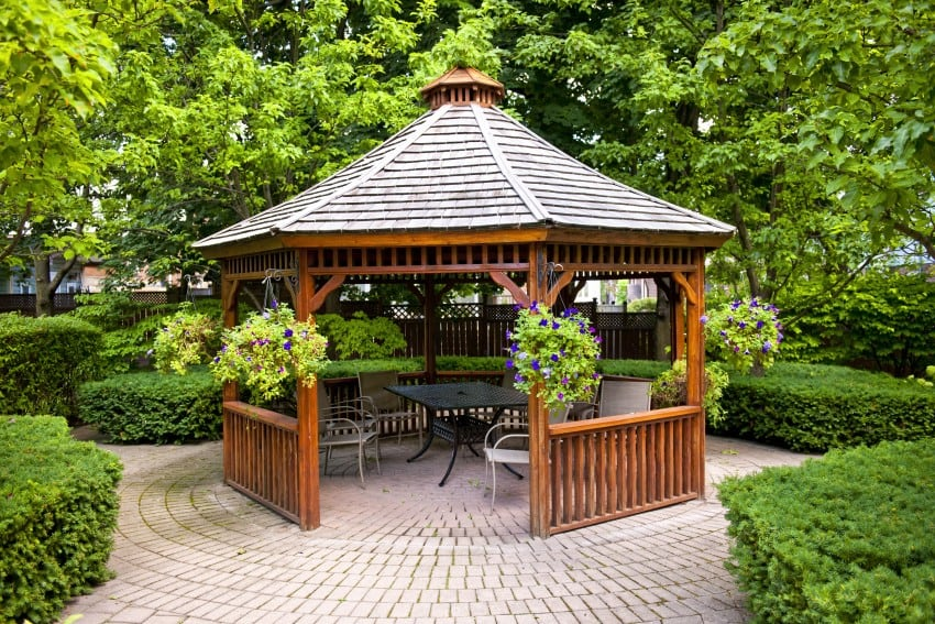 wood gazebo in garden