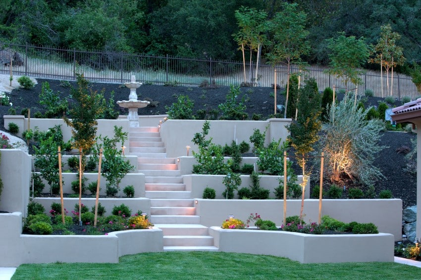 terraced backyard steps