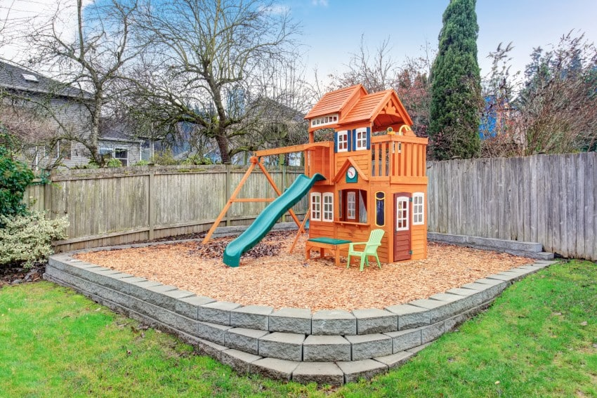kids area playground in back yard