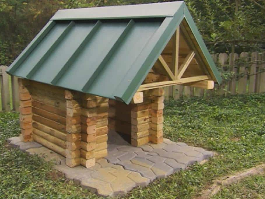 log cabin house kennel