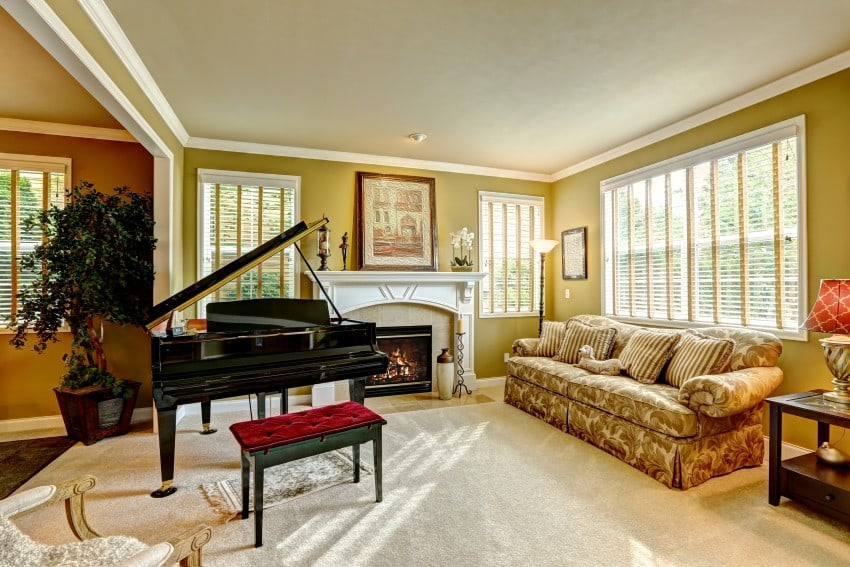 26 pictures of beautiful family and living room designs for Grand piano in living room layout