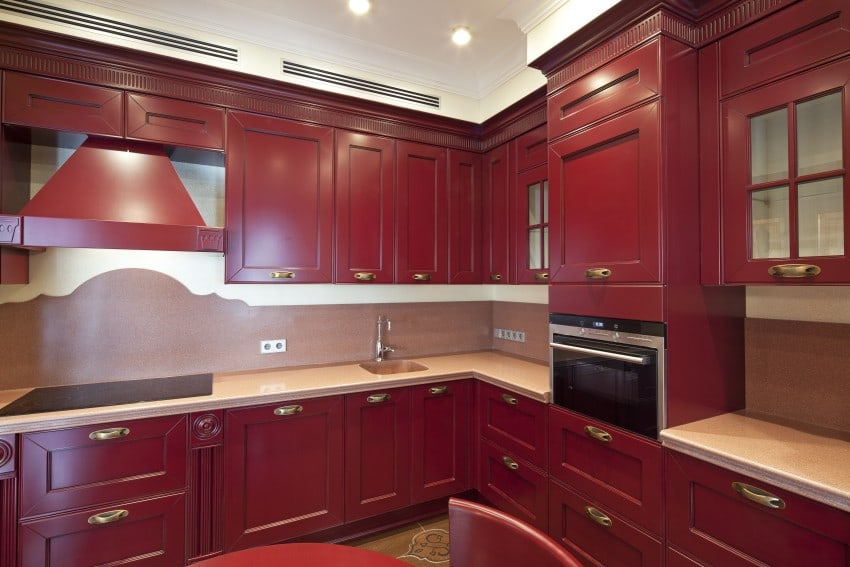red wood color kitchen cabinets