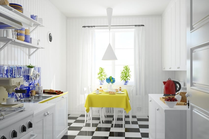 checkered floor in kitchen