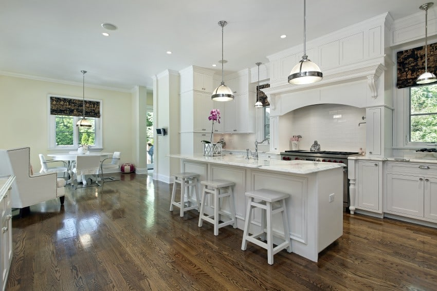 L-shaped kitchen white