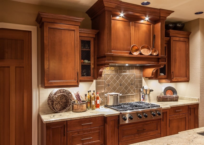 wood cabinets with granite counter