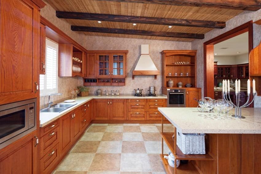 orange wood and white granite