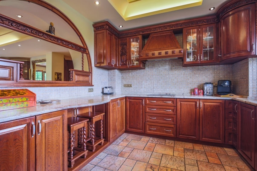 kitchen with dark color cabinets