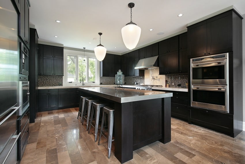 black wood cabinets and marble tile floors