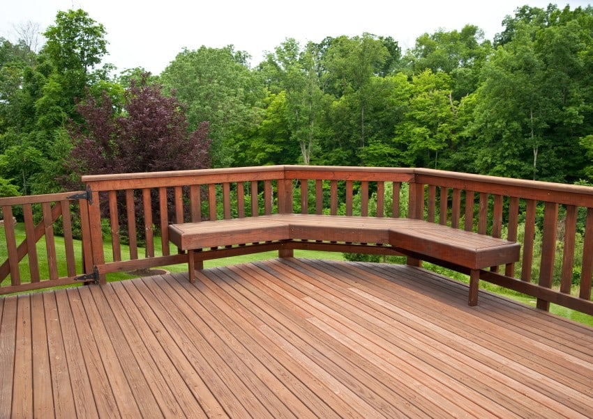 wooden deck with corner bench - Wood Deck Design Ideas