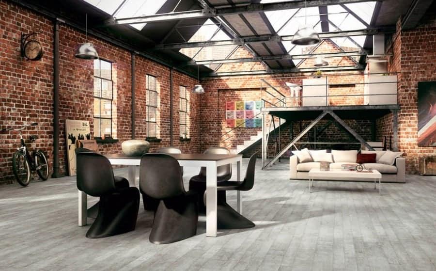 industrial modern loft attic room