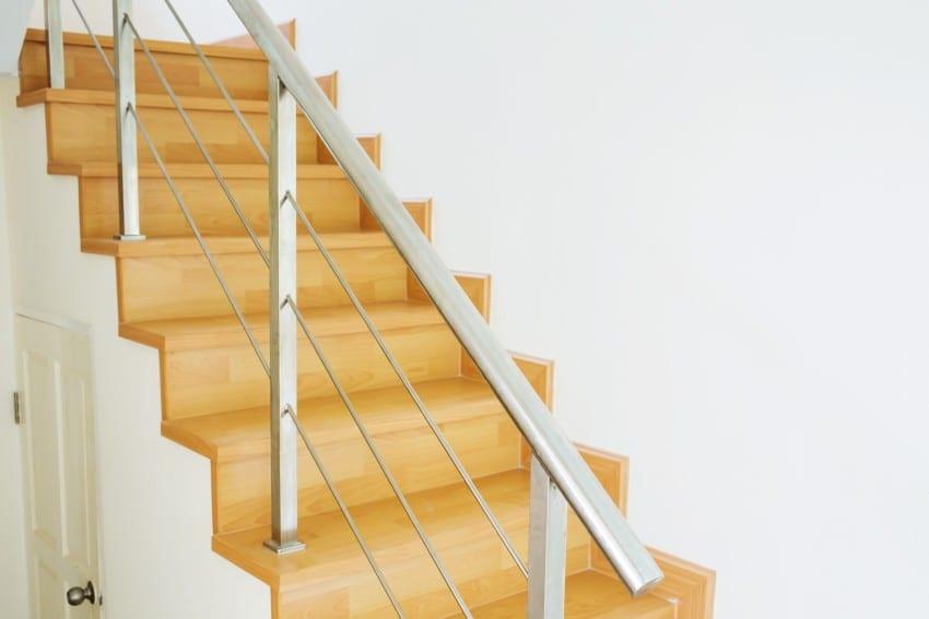 stainless steel railing on stair