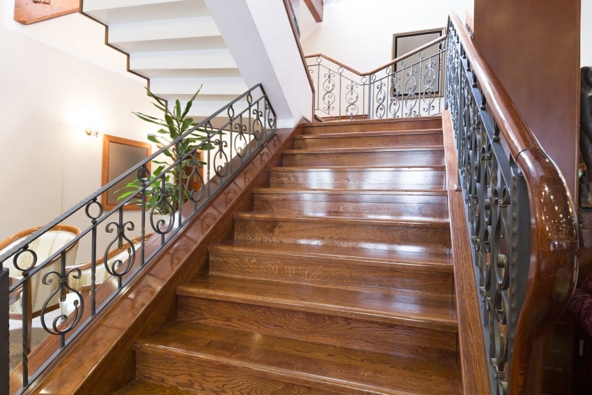 25 custom wood stairs and railings photo gallery for Custom staircase design