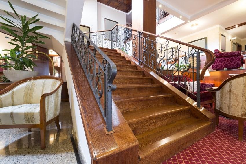 granite tiles, red carpet stair