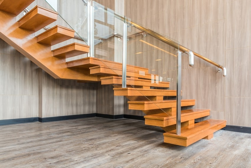 L-shaped floating stair
