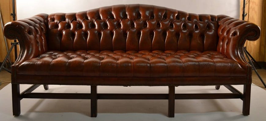 leather camelback sofa