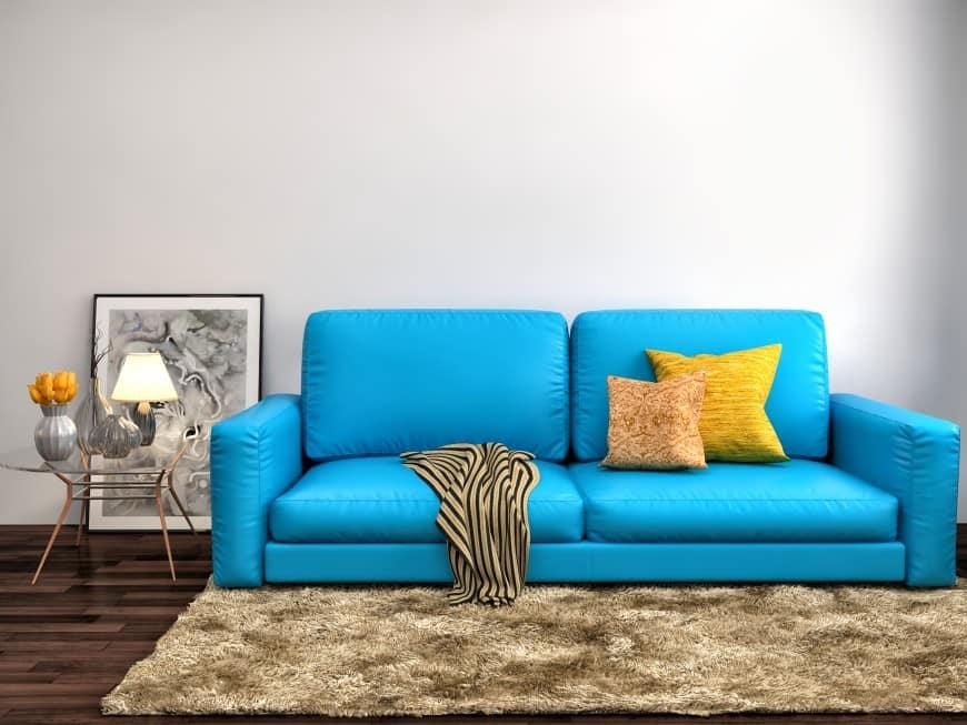 bright blue sofa