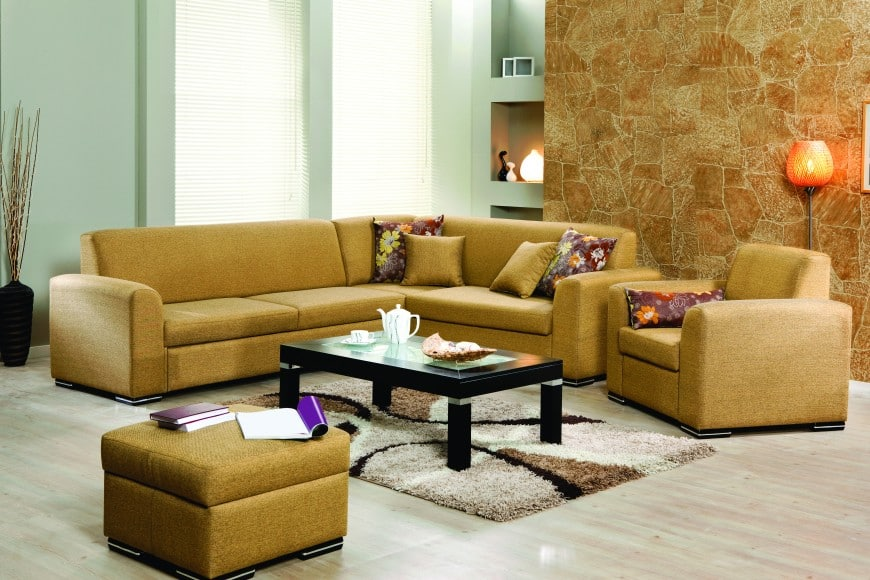 Here Is A Set Of Golden Brown Seating U2013 An L Shaped Sofa, A Comfy Armchair  And A Square Ottoman. Warm Earthy Hues Always Have A Special Psychological  Effect ...