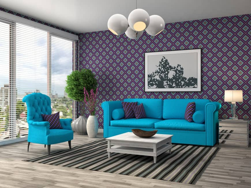 blue sofa with round arms living room