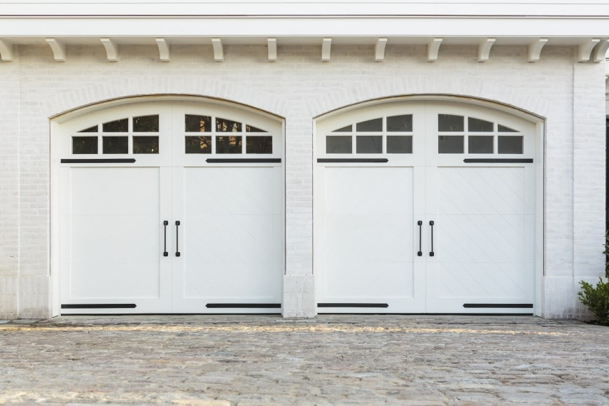 hinged doors white in garage