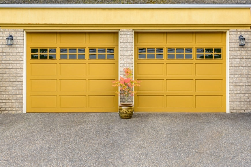 golden yellow garage doors raised panel