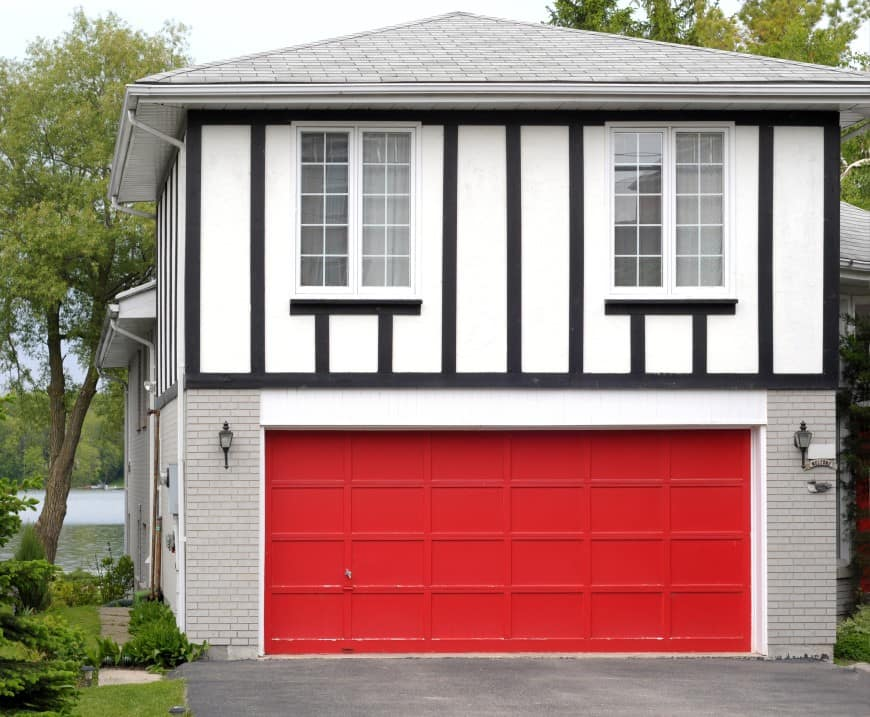 garage door with bright red color