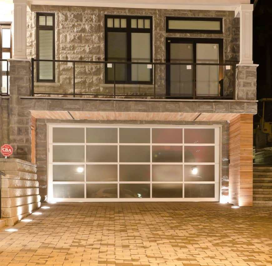semi-transparent garage door contemporary
