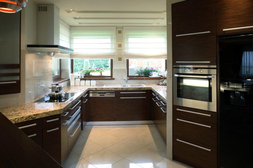 dark wood and light granite kitchen