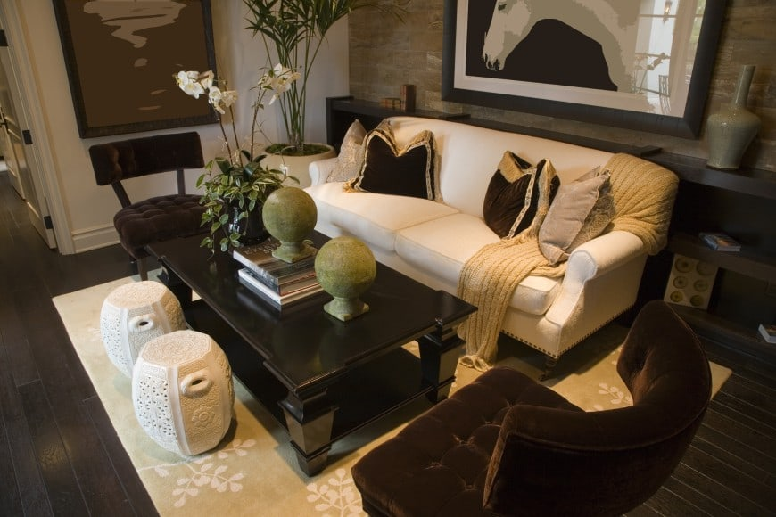 Here is another beige and brown living room design. This design proposal is set in deeper darker shades