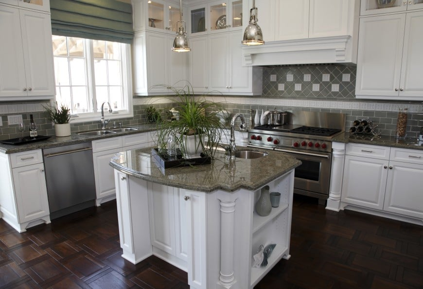 grey granite white cabinets