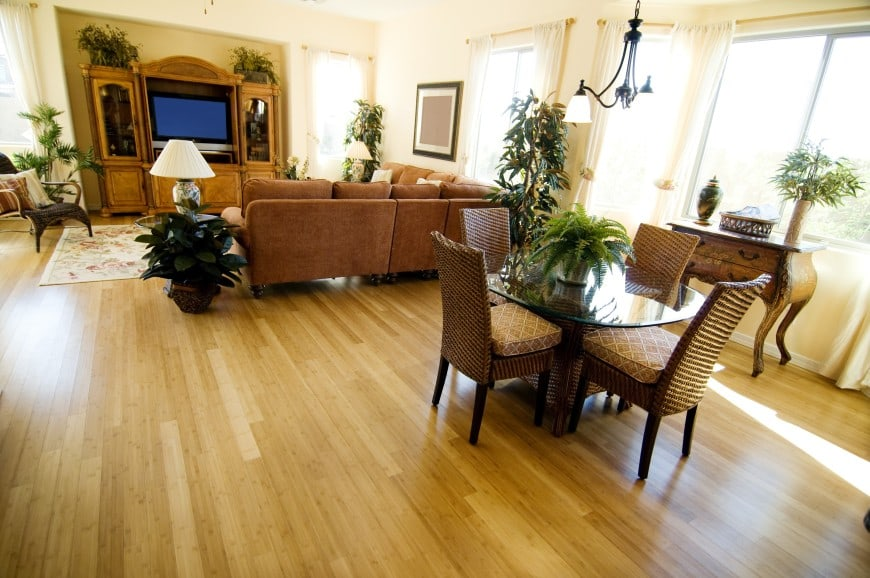 - Here is another living room design, this time with a light-colored hardwood floor.