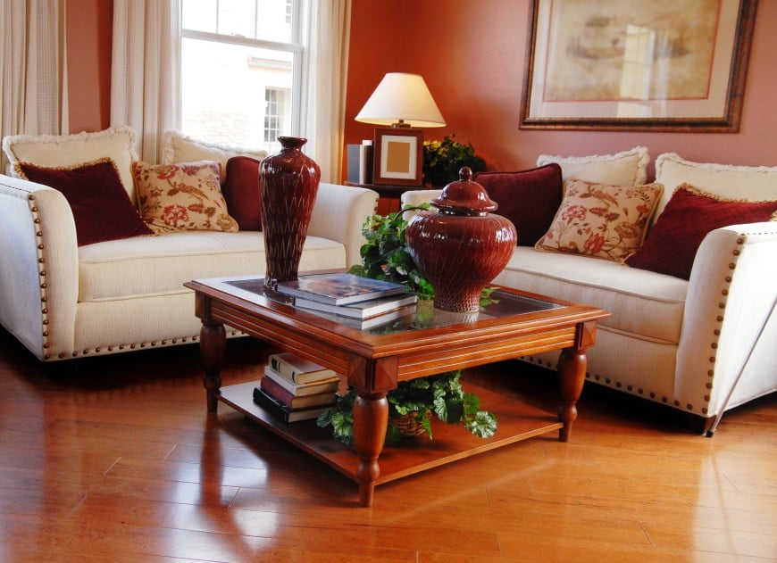 Here is a living room area with a simple traditional appeal. It has a nice little sitting area complete with a pair of lounge chairs