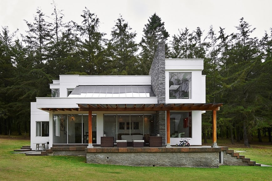 Here is a modern house design with a whole pine forest in place of its backyard.