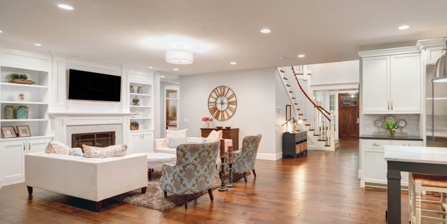 This open-concept living room has a nice flow and a transitional appeal