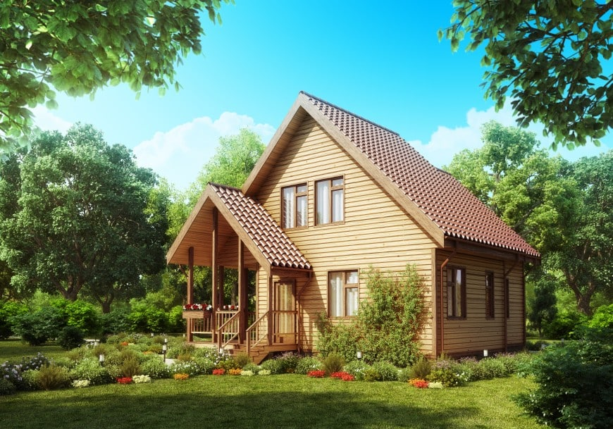 This wooden house is built in a picturesque forest area. This place inspires a feeling of harmony, and it's an idyllic retreat from busy urban life