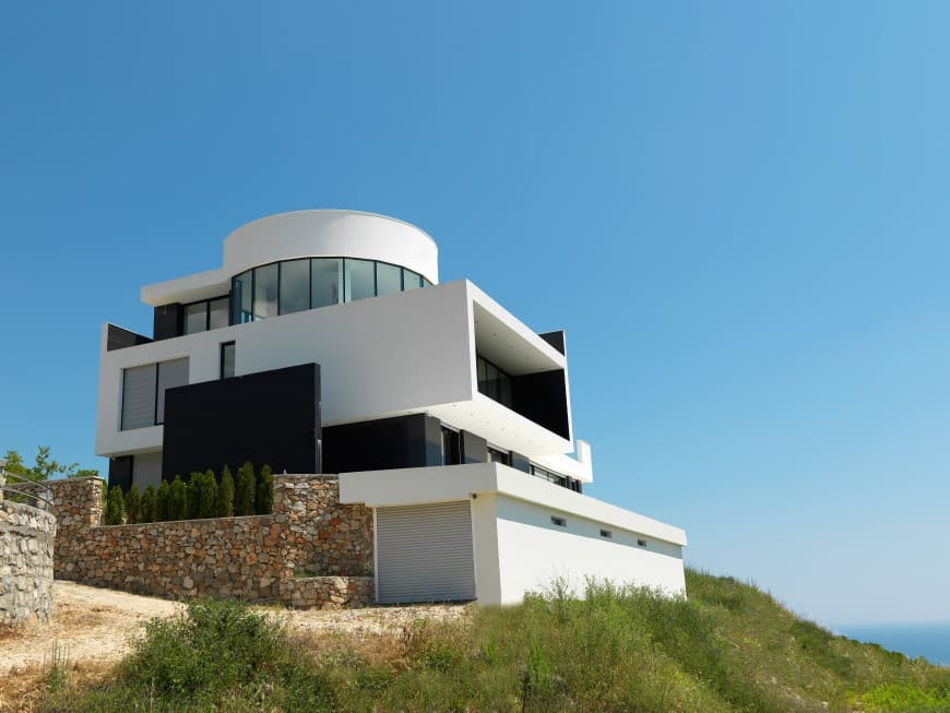 modern house design on top of a hill